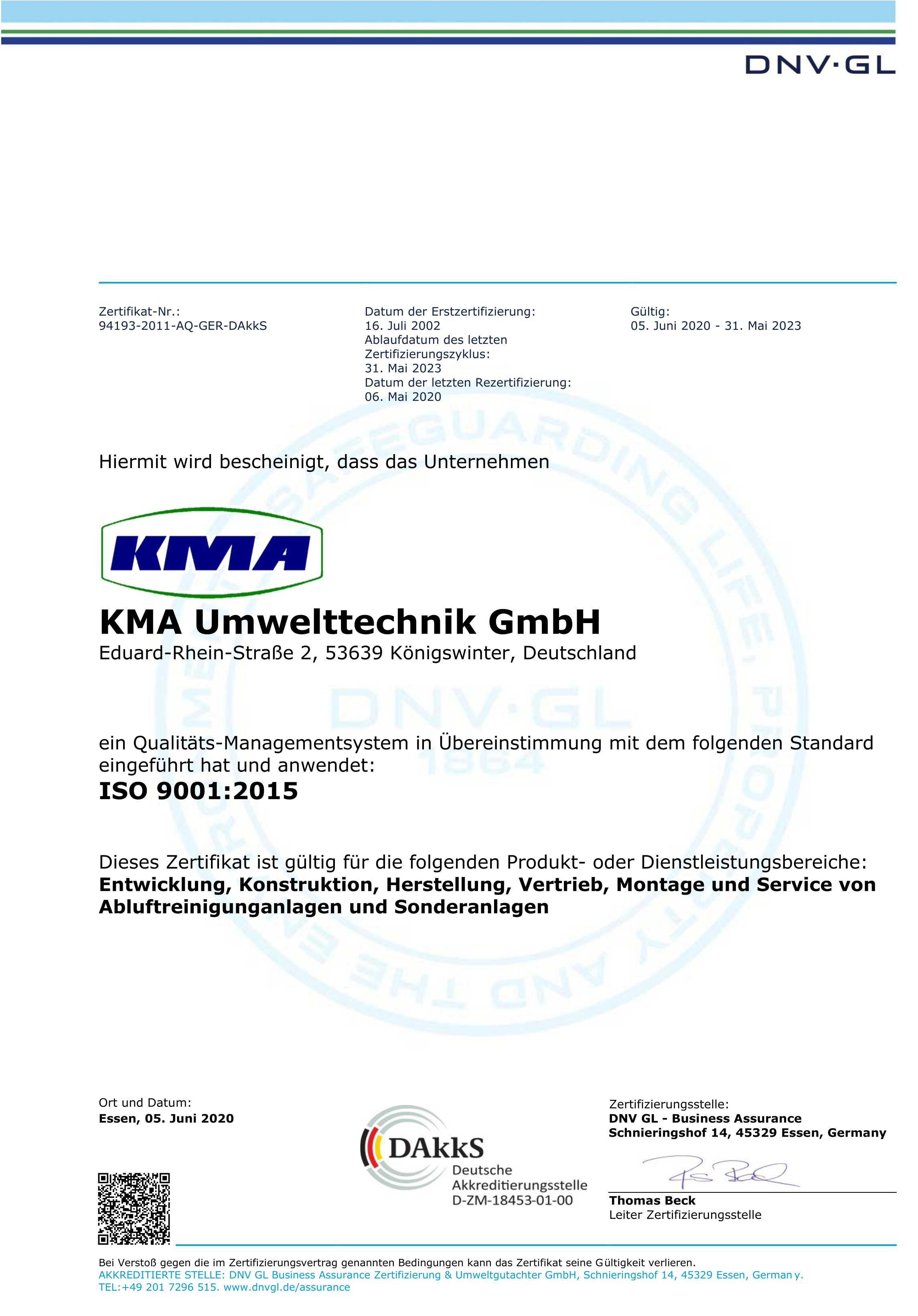 KMA ISO Management System Zertifikat