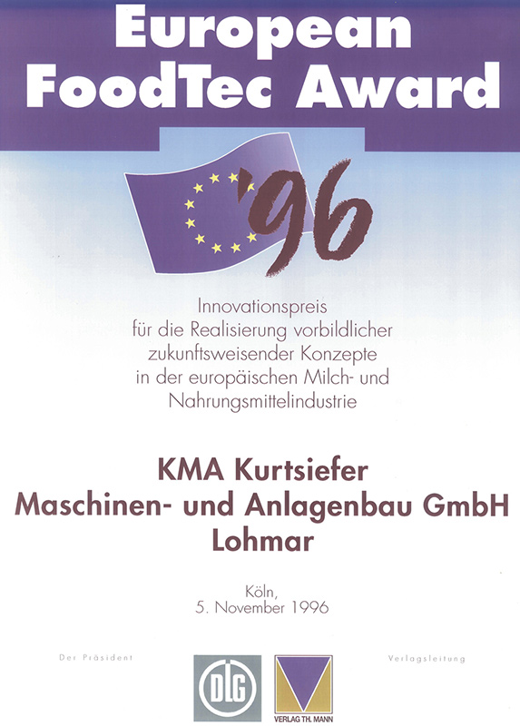 Certificate of the European Foodtec Award for innovation awarded to KMA in 1996