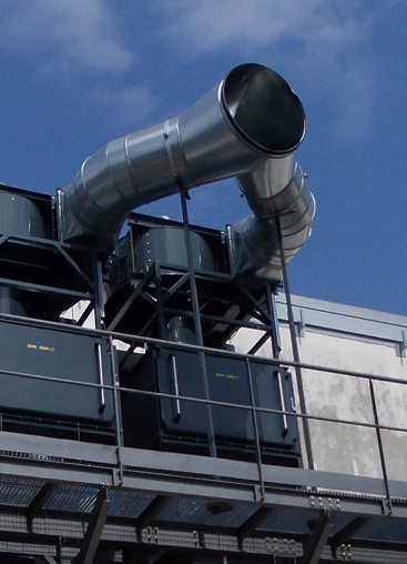KMA Ultravent® in exhaust air mode at the exterior of a building