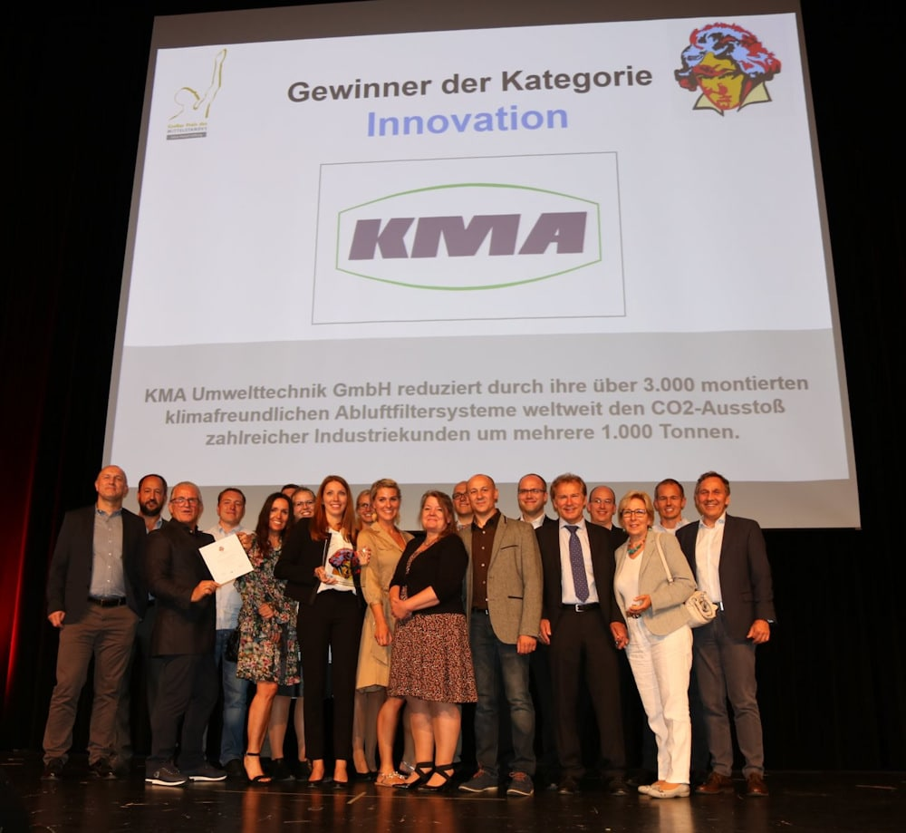 """KMA Umwelttechnik at the award ceremony of the """"Großer Mittelstandspreis Ludwig 2018"""" in the category Innovation"""